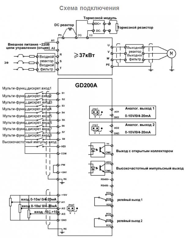 схема подключения INVT GD200A-045G/055P-4