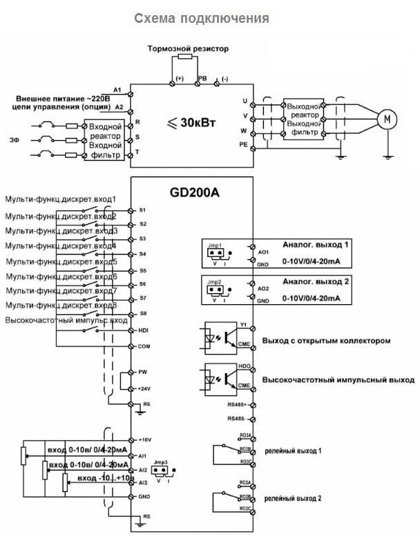 схема подключения INVT GD200A-5R5G/7R5P-4